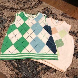 Children's Place Argyle Over Shirt V-Neck Sweaters